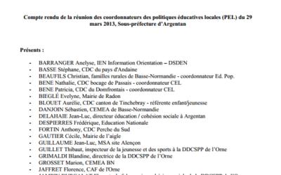 Compte rendu de la réunion des coordonnateurs des politiques éducatives locales (PEL) du 29  mars 2013, Sous-préfecture d'Argentan