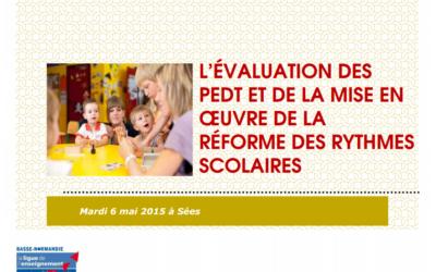 L'évaluation des PEDT et de la mise en oeuvre de la réforme des rythmes scolaires
