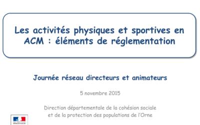 les activités physiques et sportives en ACM éléments de réglementation