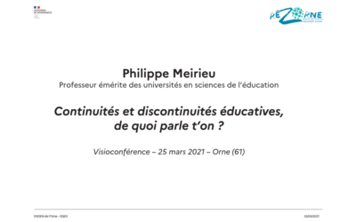 Retour sur la soirée départementale «(Dis)continuités éducatives» du 25 mars 2021